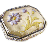 Goofus Glass Brooch Cornflower Bachelors Button Flower Reverse Painted Glass Intaglio Silver Tone Vintage Jewelry