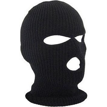 2019 New Full Face Cover Mask Three 3 Hole Balaclava Knit Hat Winter Stretch Snow mask Beanie Hat Cap New Black Warm Face masks