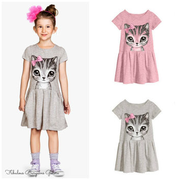 Girls Cute Cat Print Summer Dress