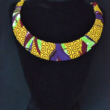 Green, Purple, and Yellow Mustrard Ankara Necklace