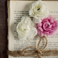 Cottage decor, romantic art, girly wall art, flower art, rustic wall decor, book, pages, fine art photo, nursery art, bedroom art, beige