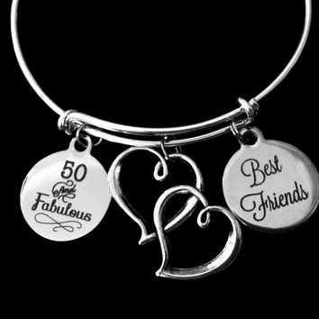 Best Friends Fabulous and Fifty 50th Birthday Jewelry Adjustable Charm Bracelet Silver Double Heart Expandable Bangle One Size Fits All Gift