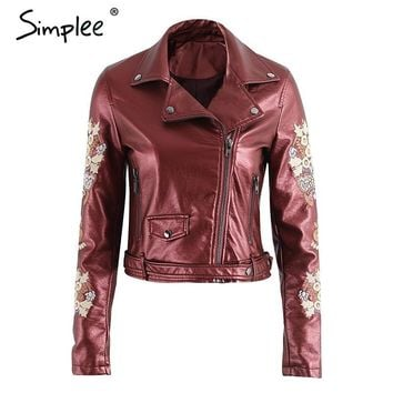 Simplee Embroidery coat jacket women Zipper black PU leather moto jacket  Fsahion 2017 basic winter jacket women outwear coat
