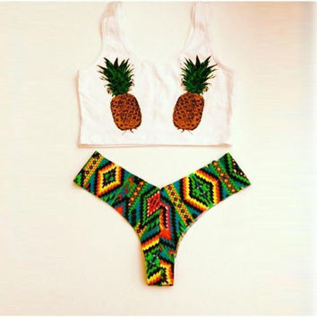 Two Pieces Swimwear Pineapple Pattern Bikini Set Push-up Beach Wear