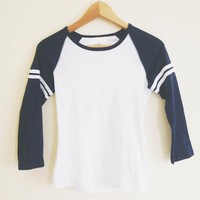 Basic Double Stripe Navy Raglan