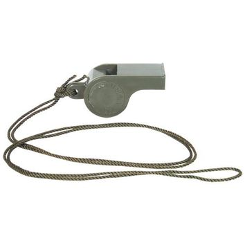 GI Style Olive Drab Police Whistle With Neck Lanyard Great for Sports Referees