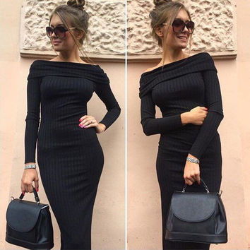 FASHION OFF SHOULDER SWEATER DRESS HIGH QUALITY