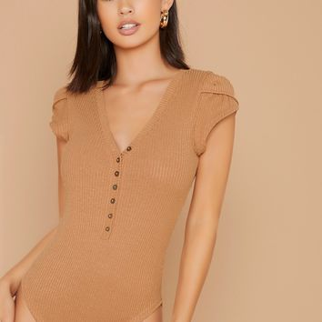 Buttoned Placket Cap Sleeve Ribbed Bodysuit