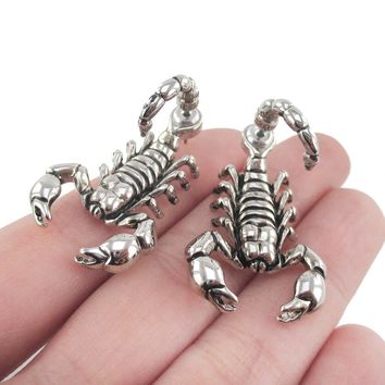 Realistic Scorpion Insect Bug Shaped Front and Back Stud Earrings in Shiny Silver