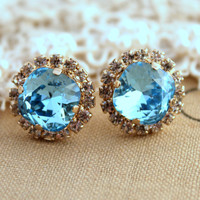Blue aqua Crystal stud Petite vintage earring - 14k plated gold post earrings real swarovski rhinestones .