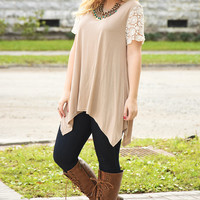 Lovely Day Top: Tan/Ivory