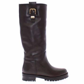 Dolce & Gabbana Brown Leather Flat Boots Winter Shoes