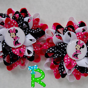 Two Minnie Mouse hair bows, Loopy Flower  bows for girls, cute set of polka dots bows