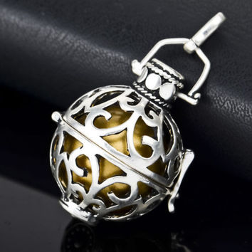 925 Sterling Silver Chime Angel Caller Harmony Cage 22mm & Gold Ball 20mm