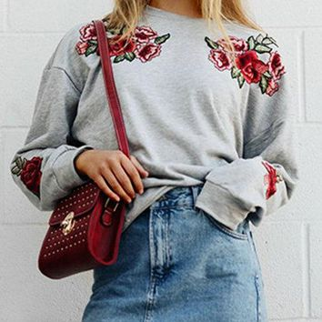 Grey Rose Embroidered Round Neck Long Sleeves Sweatshirt