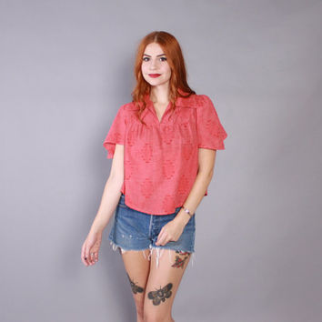 70s Hippie TOP / 1970s Flutter Sleeve Loose Fit Red Chambray Cotton Tent Top Blouse