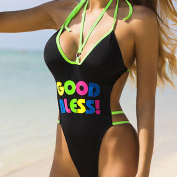 Bright Green Contrast Strappy Slogan Print Halter Open Back Swimsuit