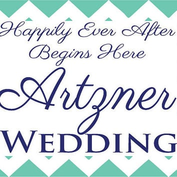 """Chevron Yard Sign Wedding Directions """"Happily Ever After Begins Here"""" Personalized, 2 Color & can be customized for other events!"""