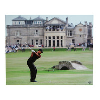 Tiger Woods 16-By-20-Inch Unframed Photo At The 2005 British Open Swinging In Front of The Famous Golf Club At St. Andrews In Scotland