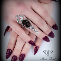 Gothic victorian ring-gothic ring-victorian ring-Amethyst(transparent) ring-adjustable ring-silver ring