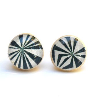 Navy geometric studs wood studs navy blue post earrings navy blue studs eco friendly jewelry earrings wood earrings jewelry for her