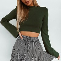 Round Up Skirt Black Stripe