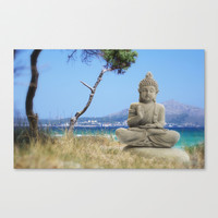 Find peace by the sea Stretched Canvas by Tanja Riedel