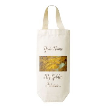 Yellow autumn maple leaves. Add you text or name. Zazzle HEART Wine Bag