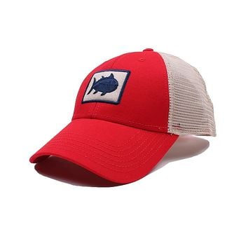Gameday Skipjack Fly Patch Trucker Hat in Varsity Red by Southern Tide