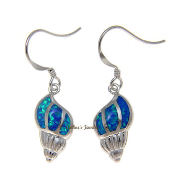 925 Sterling Silver Rhodium Hawaiian Conch Shell Blue Opal Hook Wire Earrings