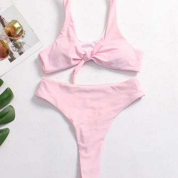 Sexy Ladies Pure Pink Chest Knot Backless Sexy High Waist Thong Two Piece Bikini Swimsuit Bathing I12062-1