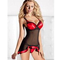 Hot Deal Cute On Sale Sexy Patchwork Spaghetti Strap Lace Skirt Exotic Lingerie [6595577411]