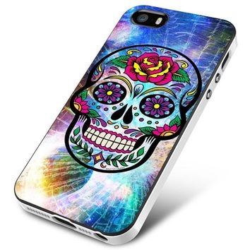 Sugar Skull Colorful Crack Out iPhone 5 | 5S | 5SE Case Planetscase.com