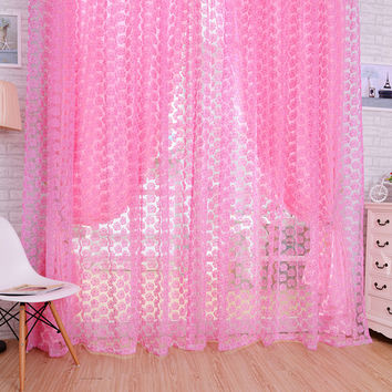 Flocking Floral Pattern Tulle Voile Rose Pattern Tulle Window Screens Door Balcony Curtain 4 Colors Cortinas Window Curtain 2*1M