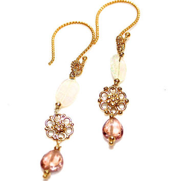 Peach Rainbow Tourmaline Earrings Opal Bali Gold Vermeil Scroll Dangle Earrings Handcrafted Gemstone Jewelry
