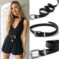 Fashion Women Lady Girl Vintage Metal Buckle Boho Leather Waist Belt Waistband