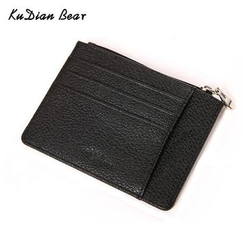 KUDIAN BEAR Slim Men Wallet Credit Card Holder Zipper Designer Card Organizer Male Card Wallets  Carteira Masculina BIH051 PM49