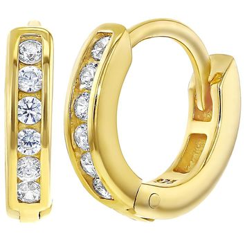"""Yellow Gold Flashed 925 Sterling Silver Clear CZ Huggie Girls Hoop Earrings 0.47"""""""