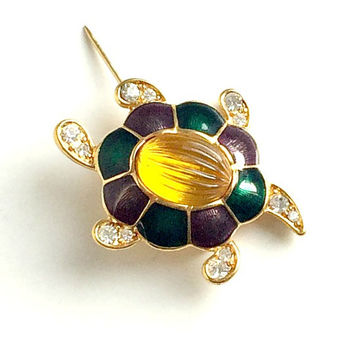 Vintage Monet Brooch, 1980s Turtle Pin, Gold Jelly Belly, Purple & Green Enamel Rhinestone Turtle Brooch, Signed Monet Brooch.