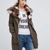 Urbancode Parka With Patchwork Faux Fur Hood at asos.com