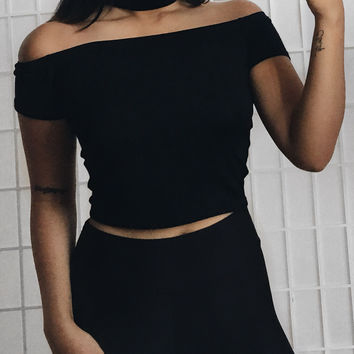 Choker Off The Shoulder Crop Tee (Black)