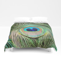 Peacock Feather Close Up Duvet Cover by joelynndesign