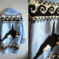 The Orca - Vintage Baby Blue Orca Killer Whale Cowichan Knit Sweater Men's XL Size