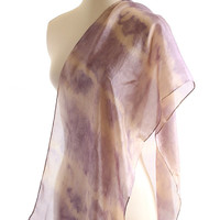 Naturally dyed scarf, purple silver grey rose shibori light  silk scarf, hand dyed logwood shawl, eco dyed scarf, purple gray silk, gift
