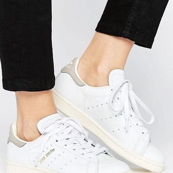 adidas Originals White And Gray Stan Smith Sneakers at asos.com