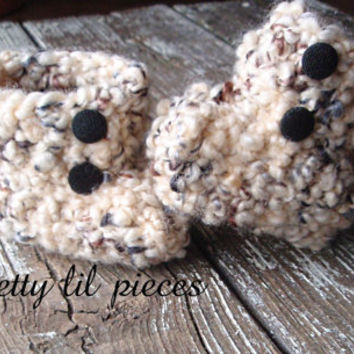 shades of brown baby booties size NEWBORN by prettylilpieces