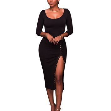 Pure Black Crop Top and Sheath Skirts with Open Side