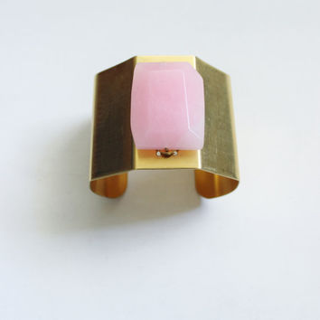 Pink stone bracelet, rose quartz, large chunk, pink, gold, minimalist, stone statement wide cuff, brass, adjustable.