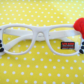 Big Bow Nerdy Sunglasses Classic White/Red by GuiltyFreeCandy