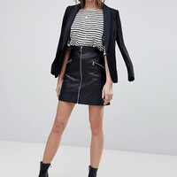 Lab Leather Skirt with Exposed Zip at asos.com